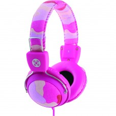 Moki Camo In-Line Mic Pink Headphones