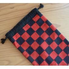 Extra Small Drawstring Bag - Black and Red Checks