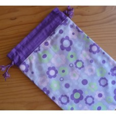 Extra Small Drawstring Bag - Mauve Flowers
