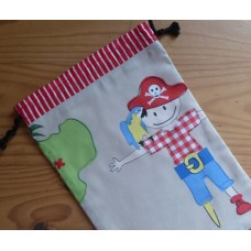 Extra Small Drawstring Bag - Pirate Parrot on Beige