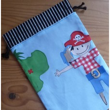 Extra Small Drawstring Bag - Pirate Parrot on Blue