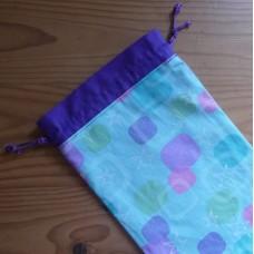 Extra Small Drawstring Bag - Stars and Squares - Aqua Blue