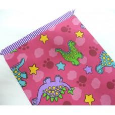Pink Petunias Medium Library Bag - Dinosaurs on Pink