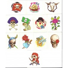 12 Mini Pirate Temporary Tattoos