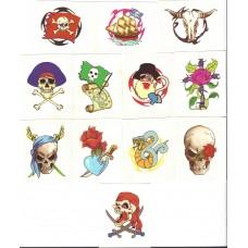 12 Mini Pirate Temporary Tattoos