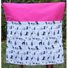 Pink Petunias School Chair Bag - Black Cats on Hot Pink
