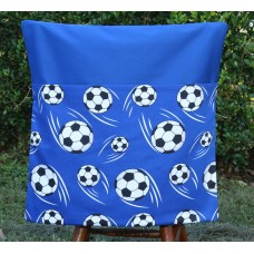Pink Petunias School Chair Bag - Blue Soccer Balls on Blue