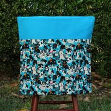 School Chair Bag - Dogs on Aqua Blue