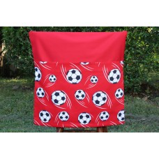Pink Petunias School Chair Bag - Red Soccer Balls on Red