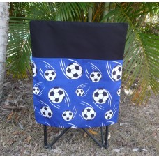 Pink Petunias School Chair Bag - Blue Soccer Balls on Black