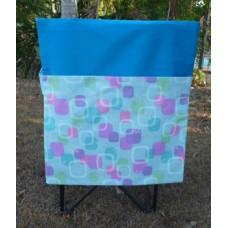 Pink Petunias School Chair Bags - Aqua Blue Squares on Aqua Blue