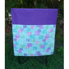 Pink Petunias School Chair Bag - Aqua Blue Squares on Purple