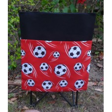 Pink Petunias School Chair Bag - Red Soccer Balls on Black