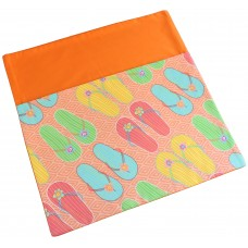 Pink Petunias School Chair Bags - Thongs on Orange