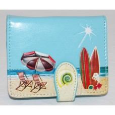 ShagWear Ladies Small Wallet Beach Postcard on Sky Blue
