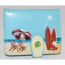 ShagWear Ladies Small Wallet Beach Postcard on Sky Blue